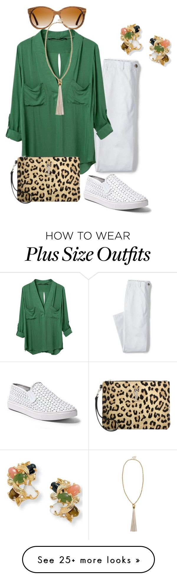 """plus size vacay casual"" by kristie-payne on Polyvore featuring Palm Beach Jewelry, Lands' End, WithChic, Steve Madden, Shwood, Sole Society and Yves Saint Laurent"