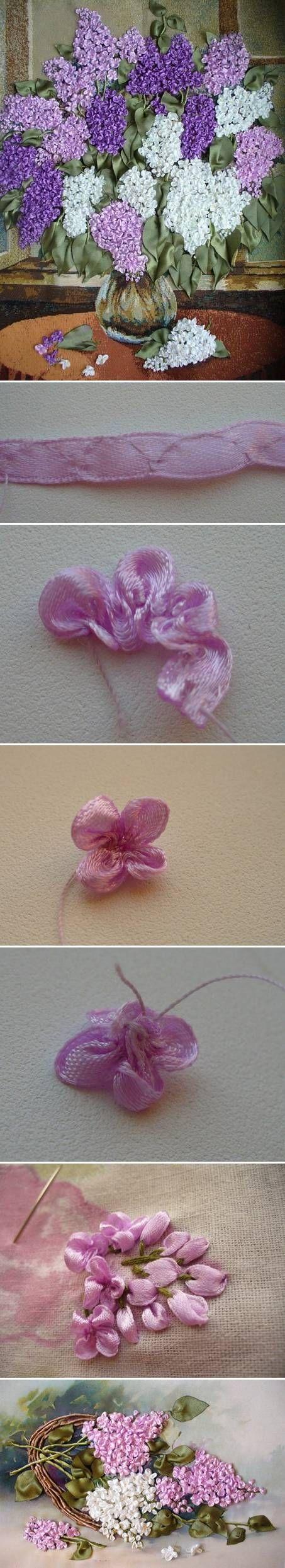 DIY Fabric Lilac Flowers bordado com fita
