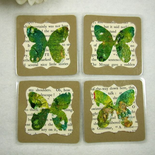 Green Butterfly Coasters with Vintage Book Paper, Laminated £4.00