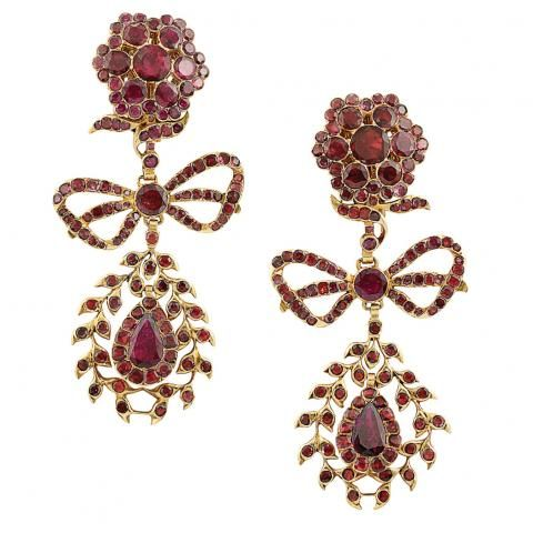 Pair of Gold and Foiled-Back Garnet Pendant-Earrings for Sale at Auction on Wed, 04/13/2011 - 07:00 - Important Estate Jewelry   Doyle Auction House