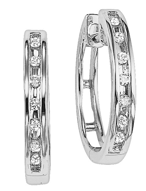 Diamond Jewellers :: When you give the gift of diamonds, you will always be in her heart! Crafted in 10K white gold, these channel set hoop earrings feature shimmering round diamonds. Polished to a brilliant shine, these diamond earrings will dazzle and delight all day and al