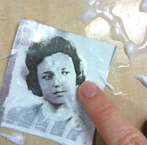DIY: image transfer to metal tape for laser photocopies using water #tutorial by Claudine Hellmuth #crafts #art_techniques
