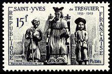 Timbre à l'effigie de saint Yves (N°WT : POSTE-1956-14).