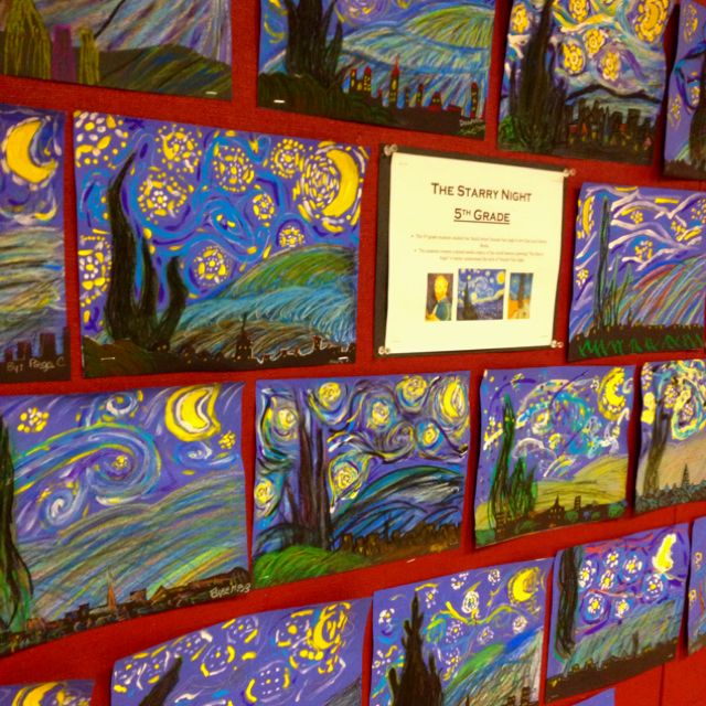 5th grade-Starry Nights-oil pastel hill and cypress tree, painted sky and black paper city silhouette with oil pastel details.