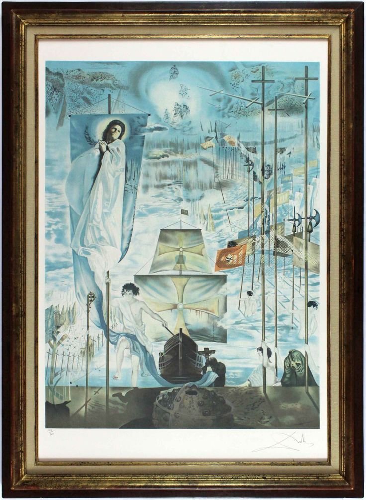 Dali's triumphant ode to Spain and its discovery of the New World. Dali's intentions may be iffy, but his technique and style are impeccable. #Dali #lithography #Spain