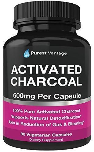 Pure Organic Activated Charcoal Capsules - 600mg per Capsule 90 Veggie Cap Pills Used for Gas Bloating Teeth Whitening and More