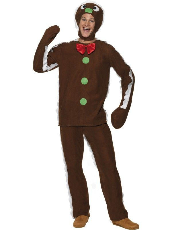 Fire up the ovens, muffin man! we got a big order to fill! Check out this adult gingerbread man fancy dress costume which comes complete with brown trousers, coordinating top and a headpiece which has the face of a gingerbread man on the front and space for your head to peep through. The top and trousers also have icing sugar detailing down the sides of the arms and legs, and green buttons on the chest. This tasty treat is brilliant for those Christmas themed events!
