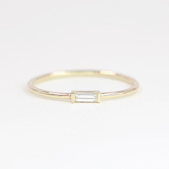 Baguette Diamond Ring Minimalist Ring Diamond by JSVConcept