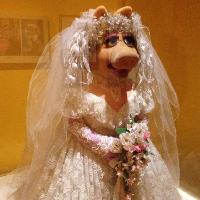 """Most people don't know that Miss Piggy got married to Kermit in """"The Muppets Take Manhattan"""" in a REAL custom made Vera Wang gown!!"""