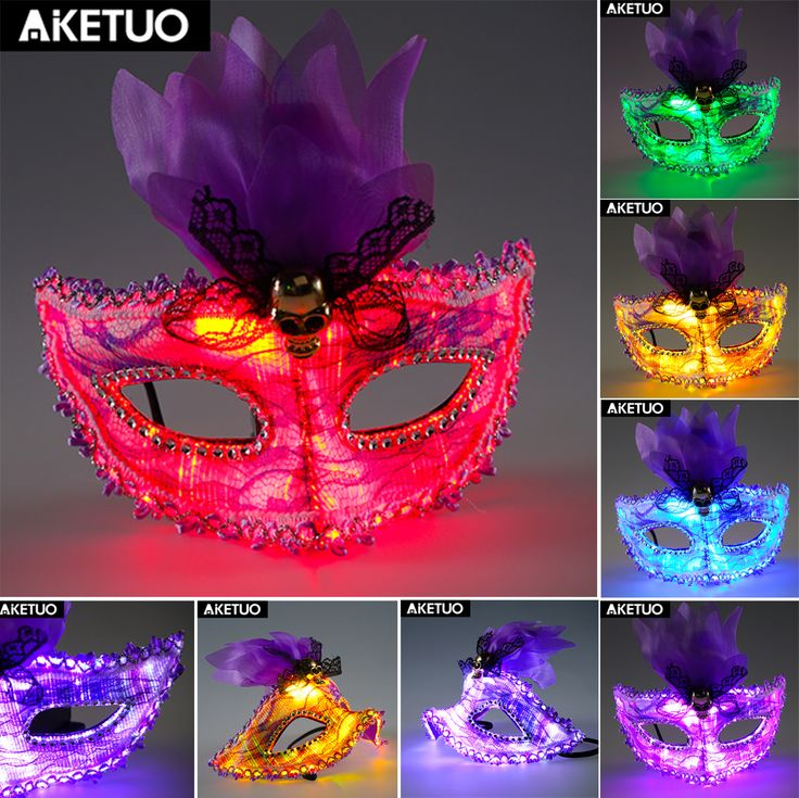LED Light up Flash Girl Halloween Mask Lace Party Costume