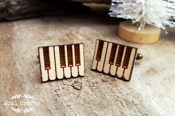 Piano Key Wooden Cufflinks Organ Piano Music Keyboard Dad