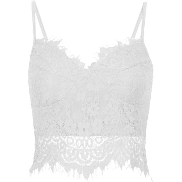 White Spaghetti Strap Lace Vest featuring polyvore, fashion, clothing, tops, shirts, crop tops, blusa, white, lace cami, white lace shirt, white shirt, lace camisole and lace shirt