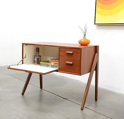 entry way table 1950s modern gunni oman teak entry chest table mid 29975