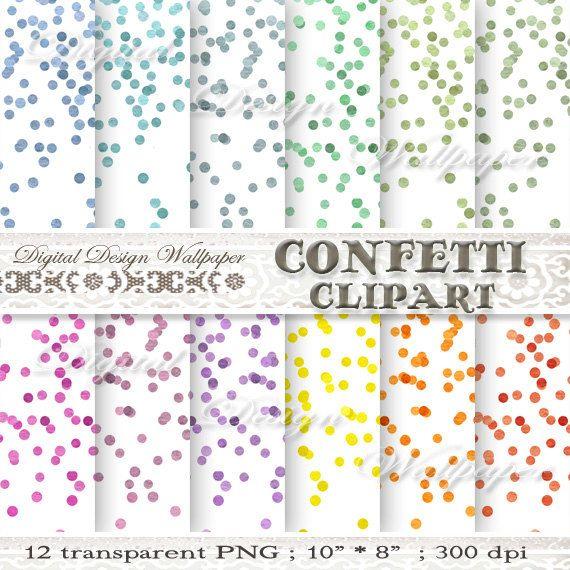 Confetti ClipartWatercolor Confetti by DigitalDesignPaper on Etsy