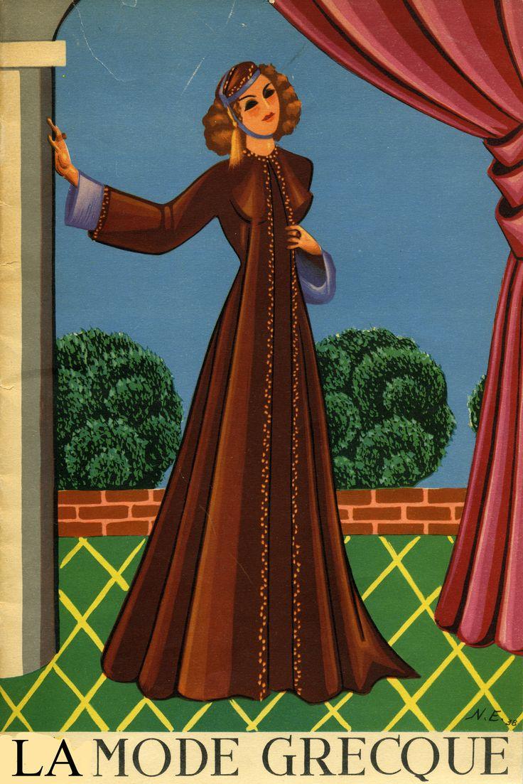 """Εξώφυλλο του περιοδικού «La Mode Greque». Σύνολο του Γιάννη Ευαγγελίδη ζωγραφισμένο από τον Νίκο Εγγονόπουλο.  """"La mode Grecque"""" magazine cover. Dress by Yannis Evangelides, painted by Nikos Engonopoulos"""