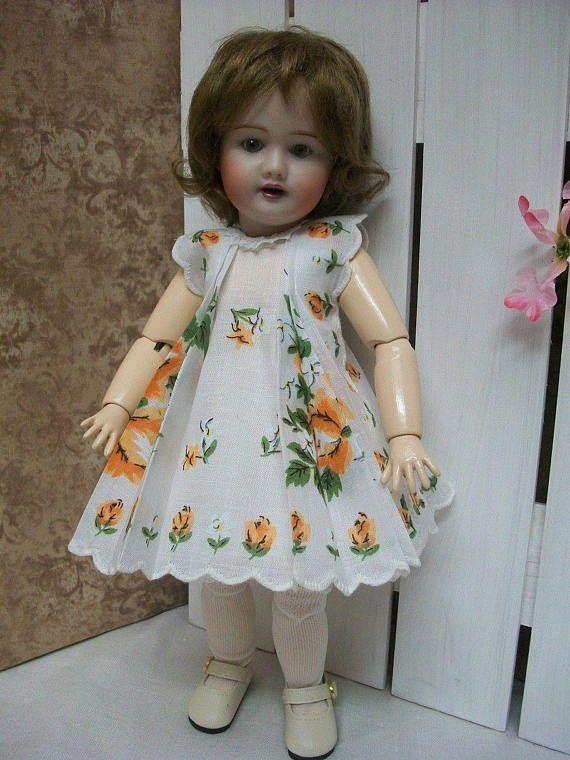 "Hanky Dress Hat  PATTERN for   Bleuette size Dolls   10/"" to 11/"""