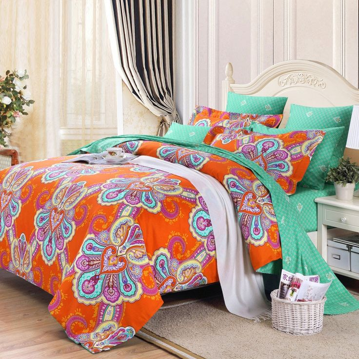 Orange and Turquoise Green Bohemian(BOHO) Chic Western Paisley Print Cotton  Satin Full, Queen Size Bedding Sets