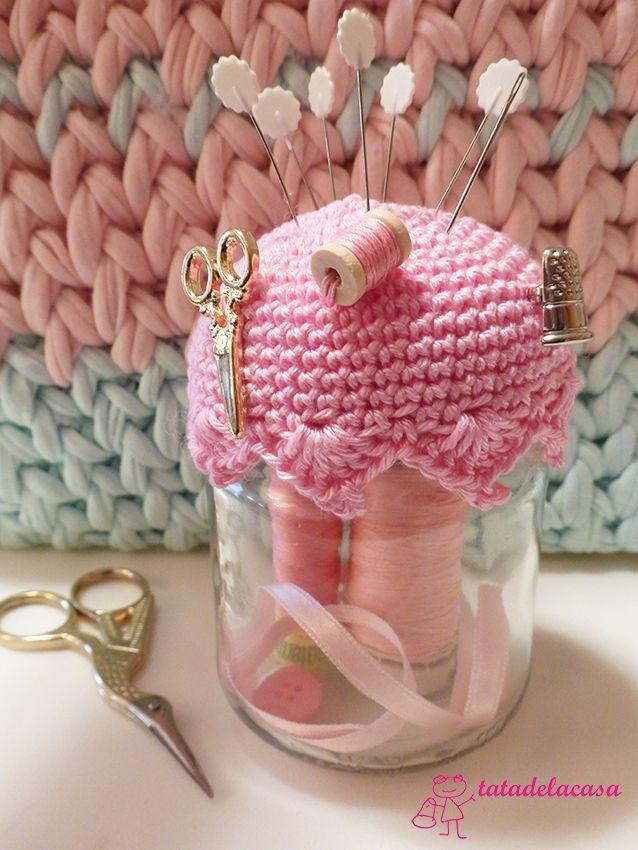 Frasco costumizado con crochet (patrón)