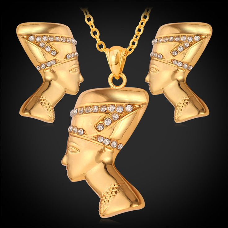 African Jewelry Set Vintage Queen Head Pendant Necklace Earring For Women Gold Color Rhinestone Jewelry Set PE707 #Affiliate