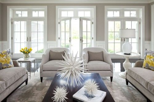 I love the light and the gray walls with white trim!