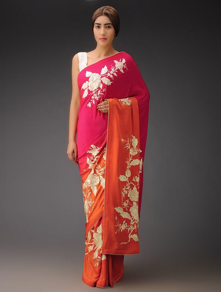 Buy Pink Orange Ombre Rose Placement Crepe Silk Parsi Gara Saree Sarees Woven Navroz Jubilation Embroidered Blouses Apparel & Clutches Online at Jaypore.com