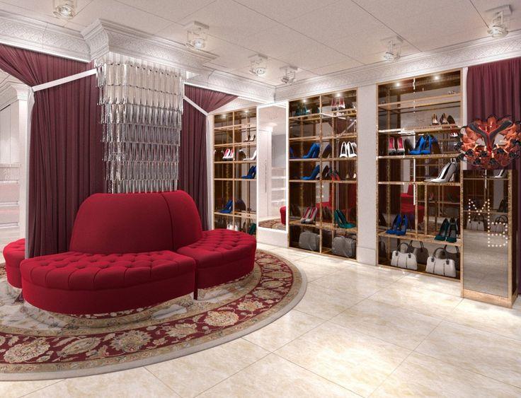 дизайн интерьера,бутик,обувной магазин,дизайн бутика,дизайн обувного магазина,красный диван,круглый диван