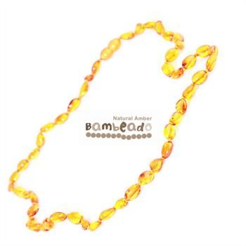 This premium amber necklace comes in smooth bean shaped amber beads. Amber beads are finished in a polish compared to the standard bud range. The amber necklace is approx 37 cm in length. Bambeado amber is genuine baltic amber. Bambeado's are to be worn and not chewed.     Each bead is individually knotted to help with safety. The Bambeado comes together with a plastic screw clasp.The Bambeado is designed to give way at the clasp or one bead will only break off if broken.