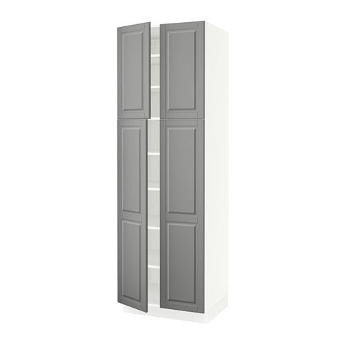 """SEKTION High cabinet with shelves & 4 doors, white, Bodbyn gray - - - Bodbyn gray - 30x24x90 """" - IKEA"""