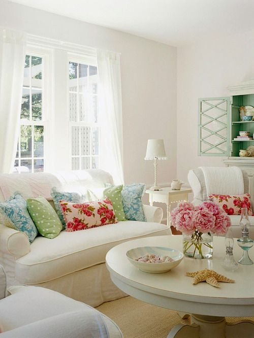: Cottages Living Rooms, White Living, Beaches House, Shabby Chic, Pop Of Color, White Rooms, Memorial Tables, Throw Pillows, White Couch