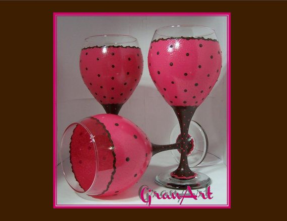 Chocolate & Pink Wine Glass Brown and Pink Wine Glass by GranArt
