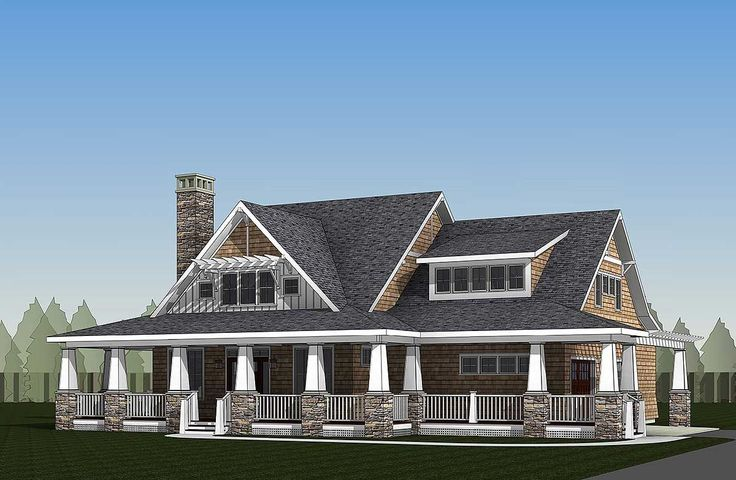 <ul><li>This storybook country house plan has a sturdy-looking exterior with an attractive covered front porch supported by tapered columns with stacked stone bases. It extends across the entire front of the home and wraps around the living room and gives you 620 square feet of space to enjoy.</li><li>In the foyer, views extend through to the back of the home, a function of a great open floor plan.</li><li>The living room has a fireplace and built-ins while the dining room juts out giving…