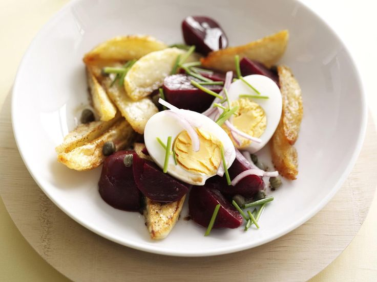 A simple and interesting warm beetroot, egg and potato salad that makes an excellent light lunch.