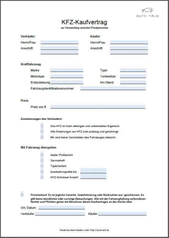 Kfz Kaufvertrag Privatverkauf Vorlage Zum Download 14