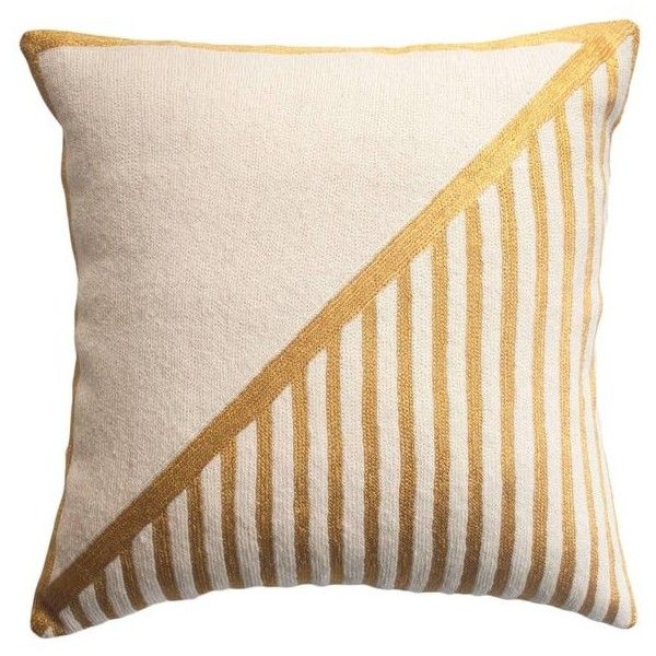 Modern Nicole Striped Hand Embroidered Geometric And Gold Throw Pillow... (155 AUD) ❤ liked on Polyvore featuring home, bed & bath, bedding, gold, ivory bedding, modern geometric bedding, cream bedding, modern bed linen and cream colored bedding