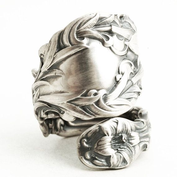 Stunning Lily Ring Large Ring Sterling Silver Spoon Ring Art by Spoonier