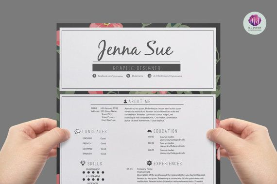 Super chic , modern resume template package : CV template , cover letter template , reference letter template