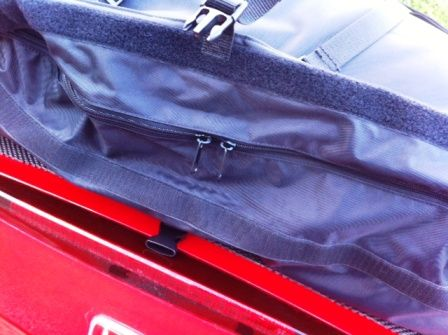 This shows the zip that goes around the 3 sides of the boot-bag there is also a flap secured by velcro that means even the zip is waterproof
