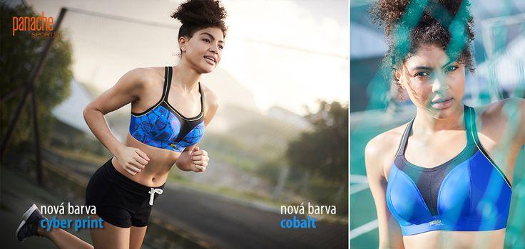 nová modrá barva sportovní podprsenky Panache v provedení s kosticí i bez kostice
