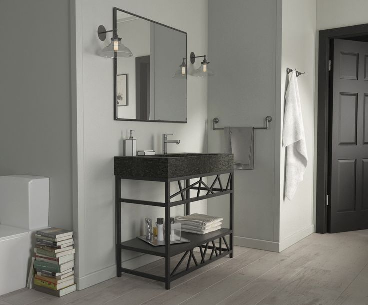 Meet the the elegant design of this black powder-coated steel vanity ! Designed and produced in Quebec.
