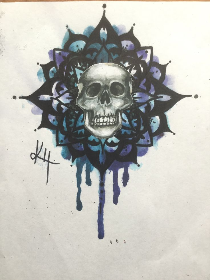 A combination of watercolor and acrylic, skull piece I finished.