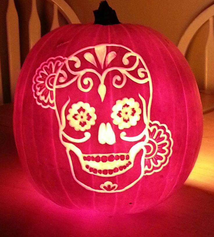 dia de los muertos pumpkin carving designs   just finished carving my Dia De Los Muertos Calavera pumpkin! What ...