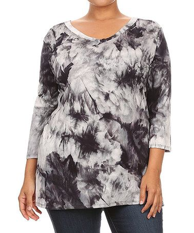 This Black & White Tie-Dye Scoop Neck Top - Plus is perfect! #zulilyfinds