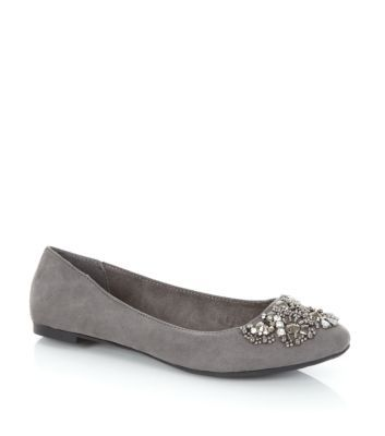 Grey Gemstone Embellished Pumps