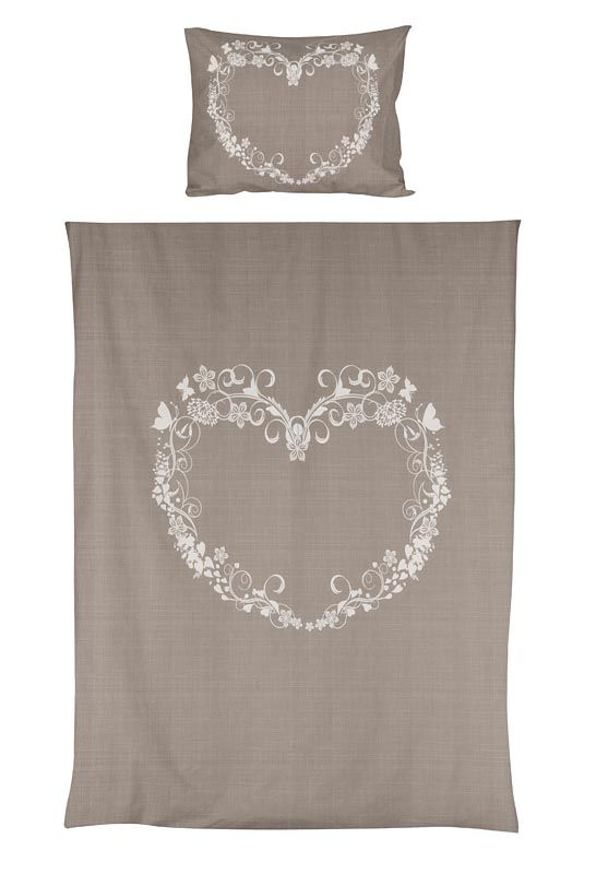 Dekbedset Hearts: dekbedovertrek in taupe voor de romantische slaapkamer