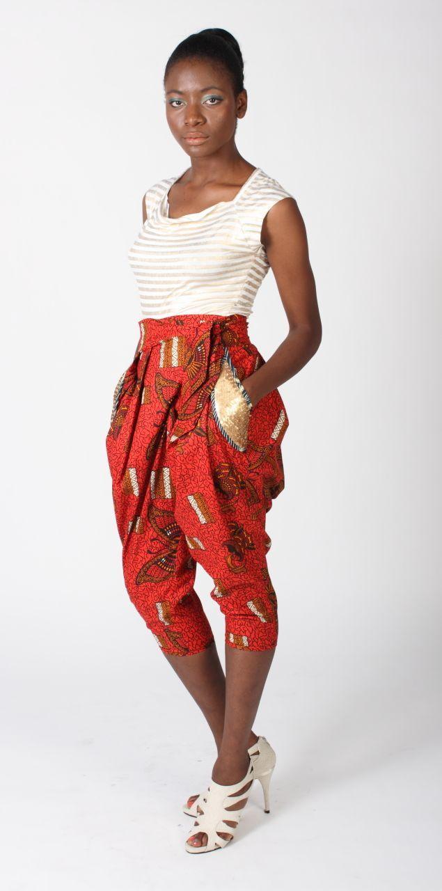 Print cropped pants by Afromania Nkwo..LOVE LOVE LOVE ~Latest African Fashion, African Prints, African fashion styles, African clothing, Nigerian style, Ghanaian fashion, African women dresses, African Bags, African shoes, Nigerian fashion, Ankara, Kitenge, Aso okè, Kenté, brocade. ~DK