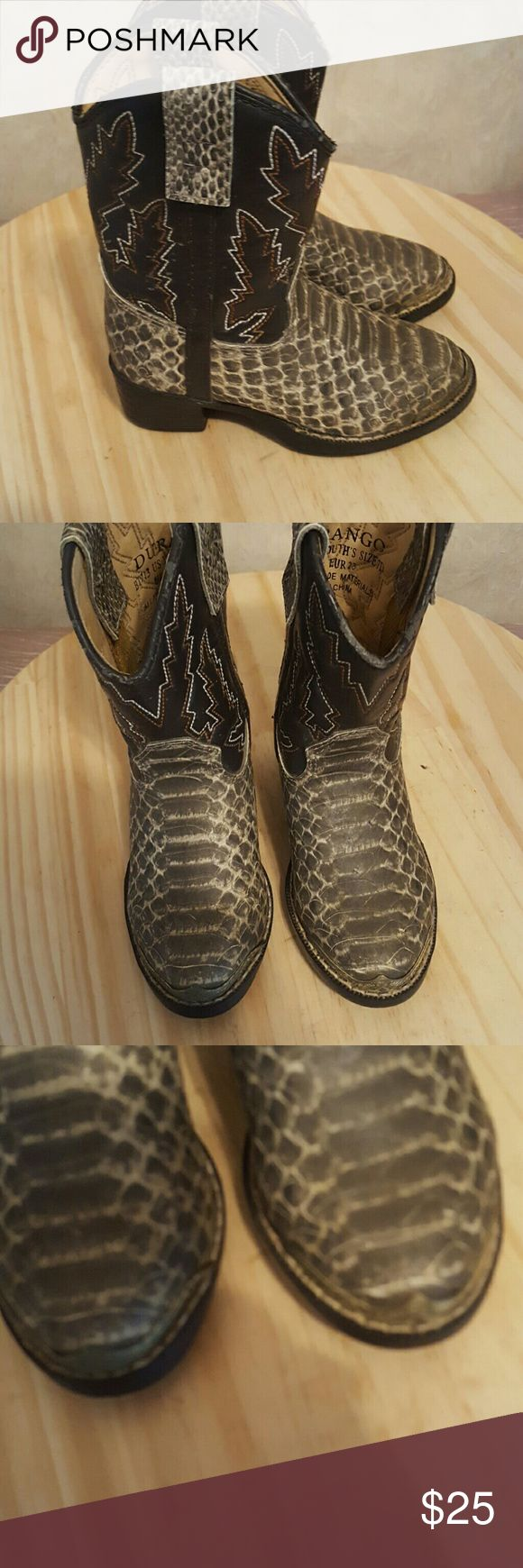 Durango faux Leather boots Adorable! Scuffed in couple spots as shown and metal tip on one bent back a tad. Otherwise great.           Tote g Durango Shoes Boots
