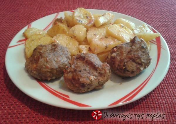 Κεφτεδάκια στο φούρνο με πατάτες #sintagespareas