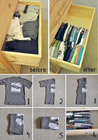 Organize your T-shirt drawer (you can also just fold the t-shirt in half and roll). This makes for easy folding and saves space too.