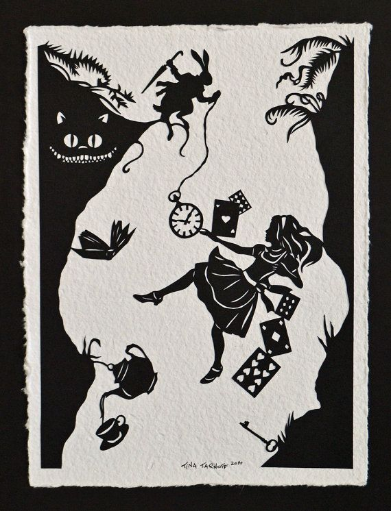 SALE 20% OFF // Coupon code: SALE20 // Alice in Wonderland - Down the Rabbit Hole - Hand-Cut Silhouette Papercut
