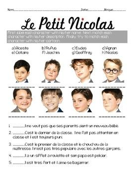 Activity/questions for the film: LE PETIT NICOLAS